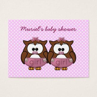 twin baby girl owl business card