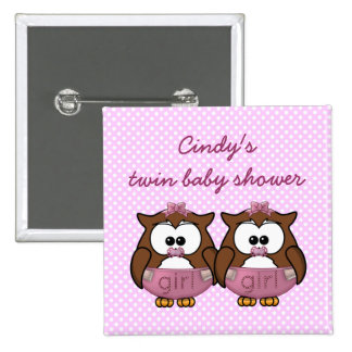 twin baby girl owl 2 inch square button