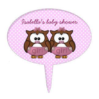 twin baby girl owl cake picks