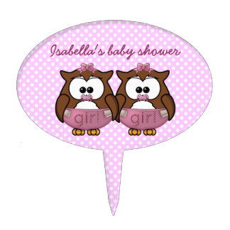 twin baby girl owl cake topper