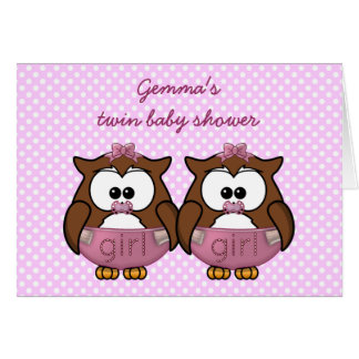 twin baby girl owl cards