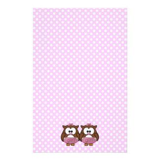 twin baby girl owl customized stationery
