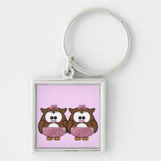 twin baby girl owl key chain