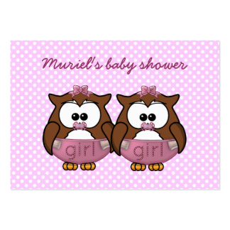 twin baby girl owl large business card