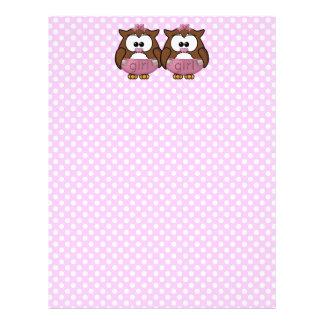 twin baby girl owl letterhead
