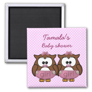 twin baby girl owl magnet