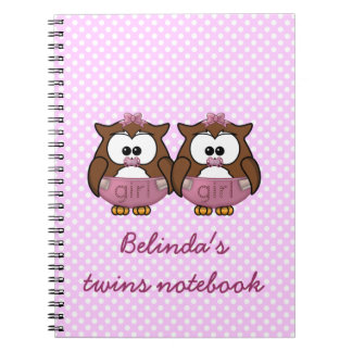 twin baby girl owl notebook