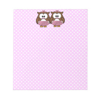 twin baby girl owl scratch pad