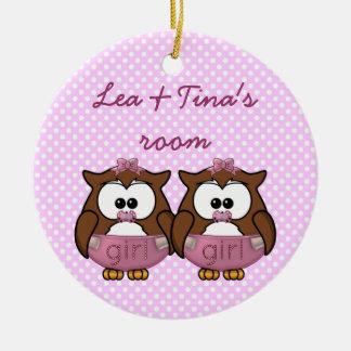 twin baby girl owl christmas ornaments