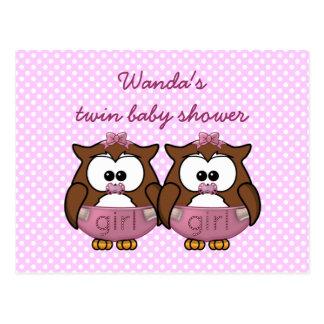 twin baby girl owl postcards