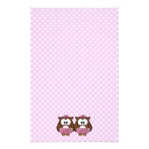 twin baby girl owl stationery