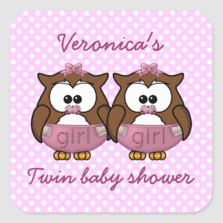 twin baby girl owl stickers