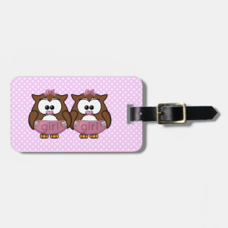 twin baby girl owl tags for bags