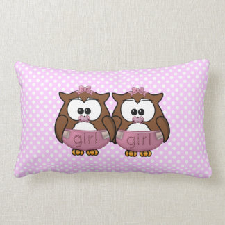 twin baby girl owl throw pillow