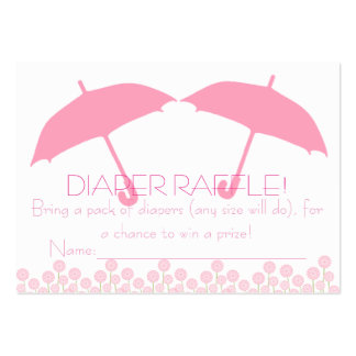 Twin Baby Girl Shower Diaper Raffle Tickets Large Business Cards (Pack Of 100)