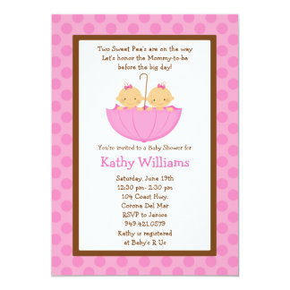 Twin Baby Girl Shower Invitation