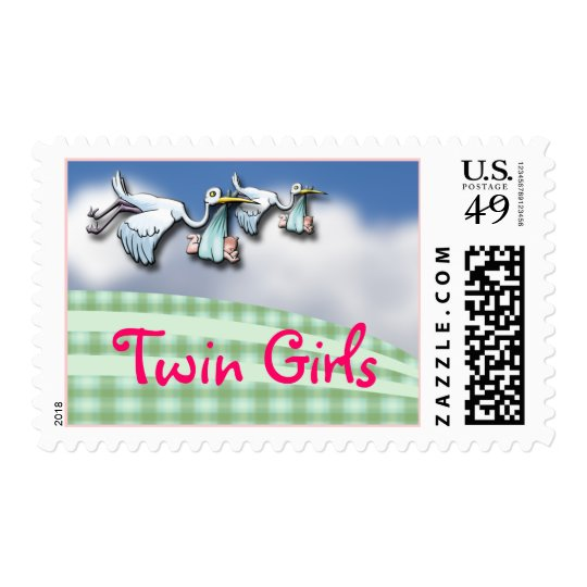 Twin Baby Girls Announcement Stamp