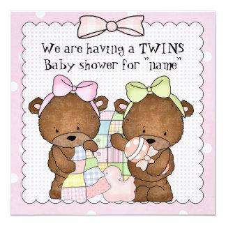 Twin baby girls baby shower invitation