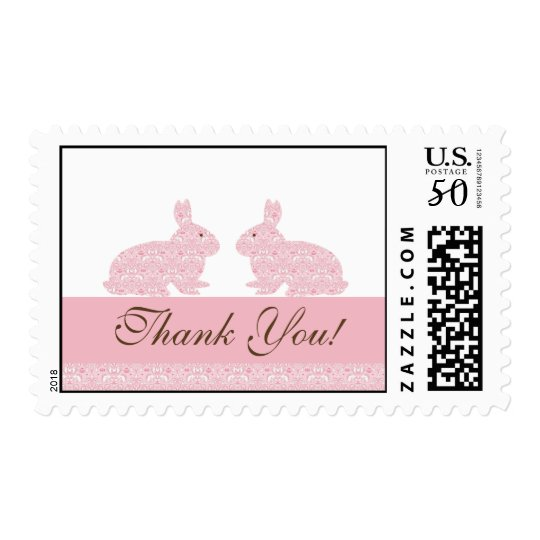 Twin  Baby Girls Bunny Baby Shower Postage Stamp