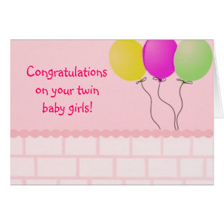 Twin baby girls Card
