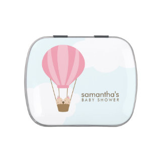 Twin Baby Girls in a Balloon Jelly Belly Tin