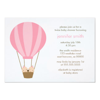 """Twin Baby Girls in a Pink Balloon Baby Shower 5"""" X 7"""" Invitation Card"""