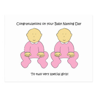 Twin baby girls naming day congratulations. postcard