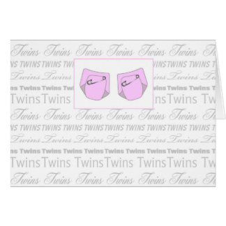 twin baby girls nappy greeting card