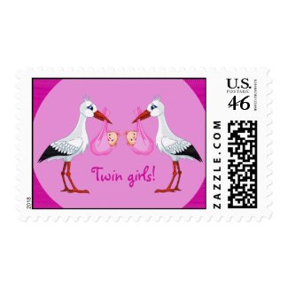 Twin Baby Girls Postage Stamp