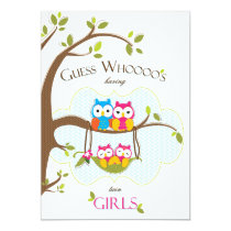 Twin Baby Girls Shower Invitation - Owl Family