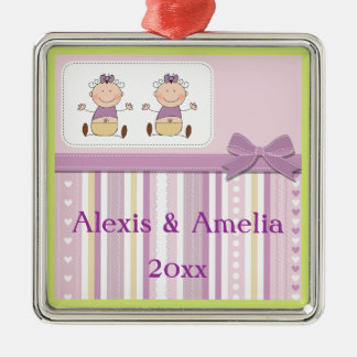 Twin Baby Girls & Stripes Baby Shower Metal Ornament