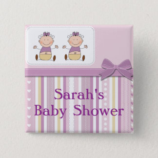 Twin Baby Girls & Stripes Baby Shower Pinback Button