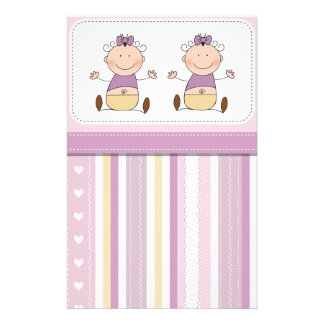 Twin Baby Girls & Stripes Baby Shower Stationery