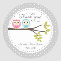 Twin Baby Owls Baby Shower Sticker