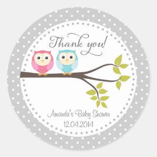 Twin Baby Owls Baby Shower Sticker