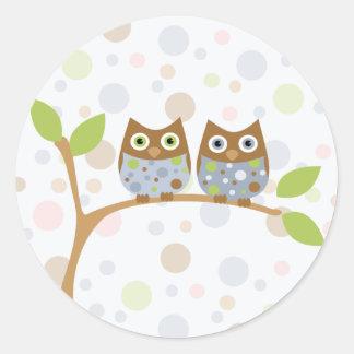 Twin Baby Owls Classic Round Sticker