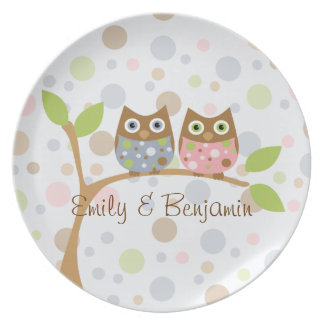 Twin Baby Owls Plate