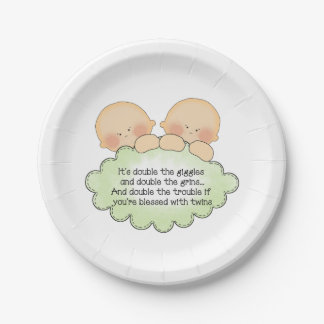 Twin baby poem party paper plate