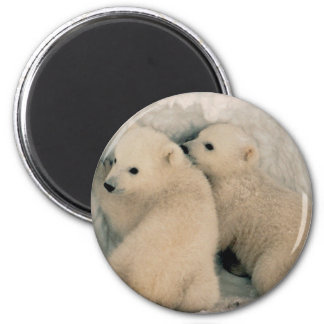 TWIN BABY POLAR BEARS 2 INCH ROUND MAGNET