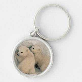 TWIN BABY POLAR BEARS KEYCHAIN