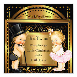 Twin Baby Shower Boy and Girl Gold Blonde Card