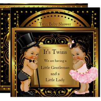 Twin Baby Shower Boy and Girl Gold Brunette Card