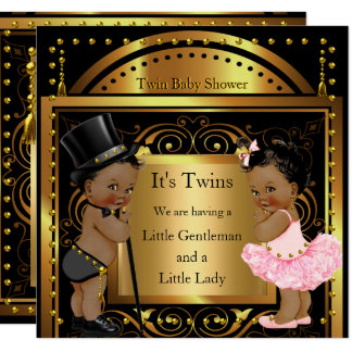 Twin Baby Shower Boy and Girl Gold Ethnic Card