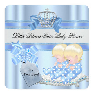 Twin Baby Shower Boys Blue Little Prince Crown 3D Card