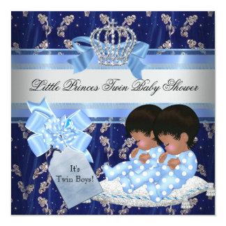 Twin Baby Shower Boys Blue Little Prince Crown Card