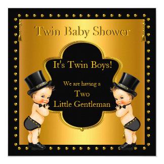 Twin Baby Shower Boys Little Gentleman Brunette Card