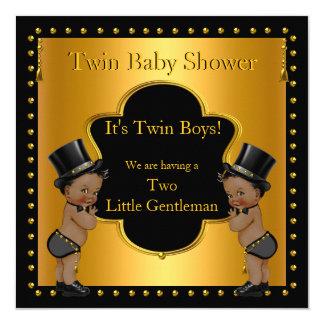 Twin Baby Shower Boys Little Gentleman Ethnic Card