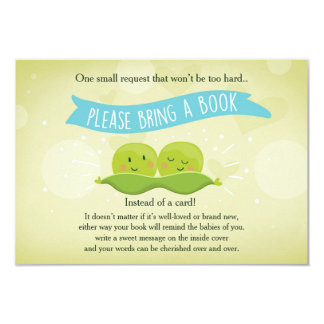Twin Baby shower Bring a book Two Peas in a pod Card