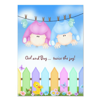 Twin Baby Shower Card
