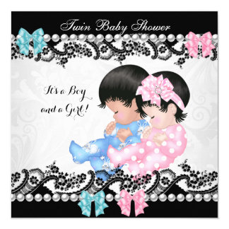Twin Baby Shower Cute Girl Pink Boy Blue Card
